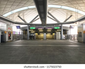 September 8, 2018: Bangkok, Thailand: MRT station floor and modern roof with exit stairs on the arrival and departure hall