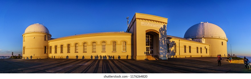 September 8, 2018 San Jose / CA / USA - Sunset view of the facade of the historical Lick Observatory; visitors' shadows projected on its walls; San Jose, south San Francisco bay area, California