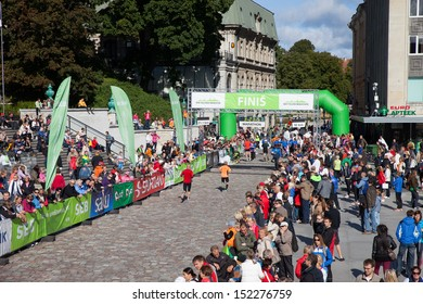 September 9, 2012: Tallinn, Estonia - Tallinn SEB Marathon Finish line at Freedom Square