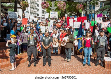 September 9, 2016: Standing Rock Solidarity Rally, in protest to the Access Oil Pipe line in North Dakota at Pioneer Square in downtown Portland, Oregon.