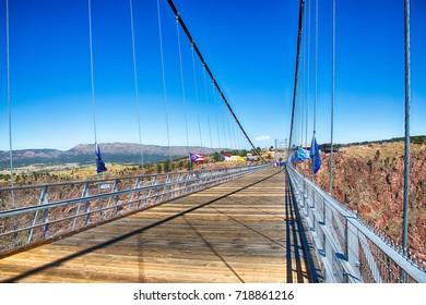 September 9, 2017: Royal Gorge, Colorado, tourists cross the royal gorge bridge in Colorado.