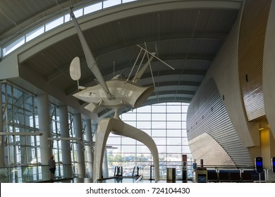 September 9, 2017 San Jose/CA/USA - Modern art on display inside Norman Y. Mineta San Jose International Airport