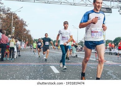September 9, 2018 Minsk Belarus Half Marathon Minsk 2018 Marathon race, in which marathon participants cross the finish line