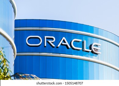 September 9, 2019 Redwood City / CA / USA -  Oracle logo at their HQ in Silicon Valley; Oracle Corporation is a multinational computer technology company specializing in database management systems
