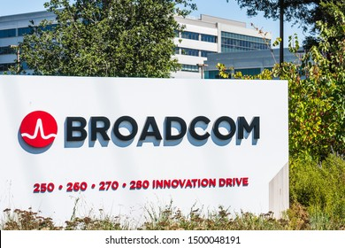 September 9, 2019 San Jose / CA / USA - Broadcom headquarters in Silicon Valley; Broadcom Inc. is an American designer, manufacturer and supplier of semiconductor and infrastructure software products
