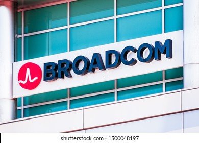 September 9, 2019 Sunnyvale / CA / USA - Broadcom sign at their offices in Silicon Valley; Broadcom Inc. is an American manufacturer and supplier of semiconductor and infrastructure software products