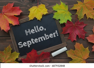 September, back to school concept. Hello September words on chalkboard. Dark brown wooden background. Top view.