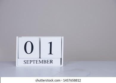 September Date Cube White Background