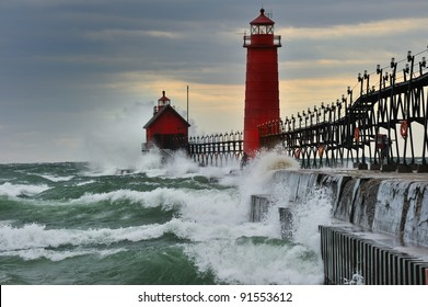 """""""September Gale""""   Waves pound the Grand Haven Lighthouse in a Storm - Michigan USA"""