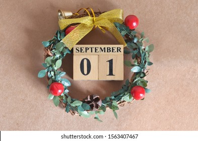 September Month, Christmas, Birthday with number cube design for background. Date 1.