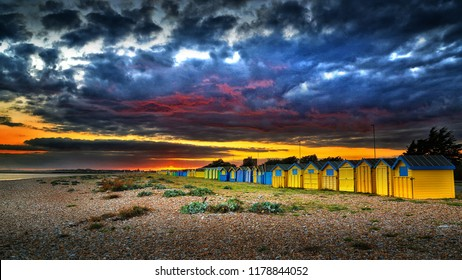 September Sunset over the beach huts in Littlehampton