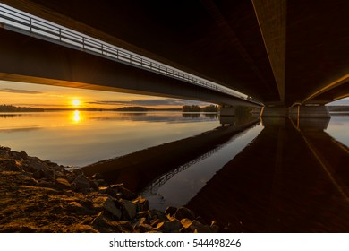 September sunset under motorway bridge in Pirkkala Finland