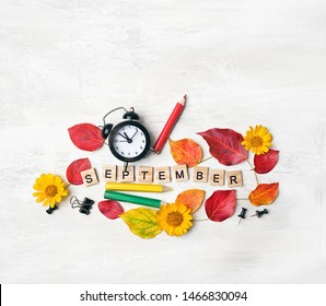 September time. stationery, pencil, alarm clock, flowers, autumn leaves. education, starting school, back to school Concept. symbol of 1 september, beginning of school year. flat lay.