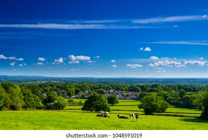 A September walk over Holmwood common in Surrey south east England with views of the North Downs