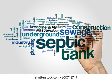 Septic tank word cloud concept on grey background