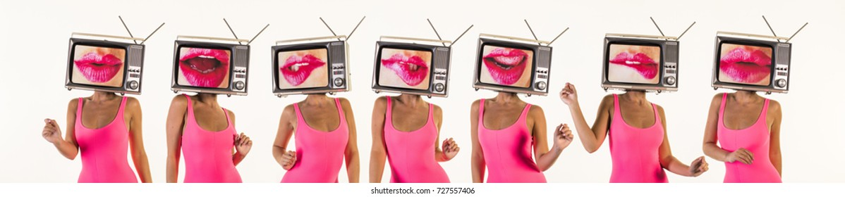 sequence of amazing woman dancing and posing with a television as a head. the tv has an image of luscious womenâ??s lips on it