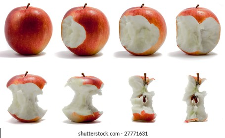A sequence of an apple being eaten.