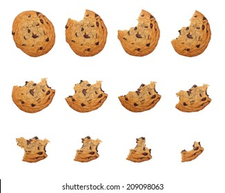 Sequence of bites taken off a cookie isolated on white background