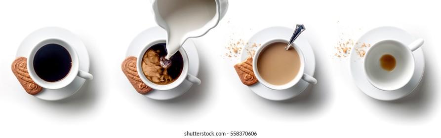 Sequence of coffee with milk