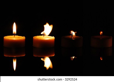 Sequence of  frames with a fading candle