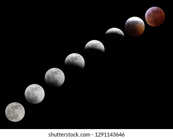 A sequence of moons depicts the lead up to a solar eclipse