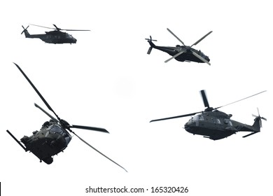 Sequence of shots of a helicopter in flight during a military demonstration