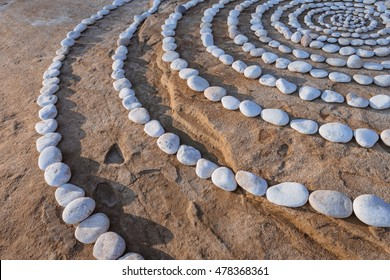 Sequence of small stones laid out in the form of a circles