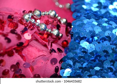 Sequin on pink and blue fabrics