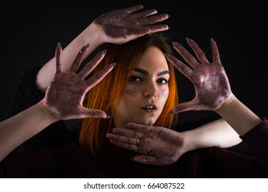 Sequins face and hands