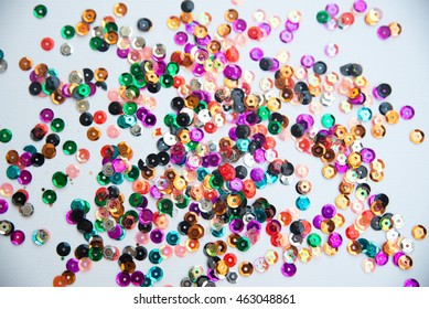 Sequins on a white background