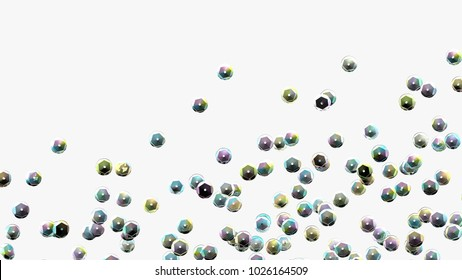Sequins on white background. Holographic sequin. Rhinestones. 3d illustration. Fashion backdrop. Embroidery. Rainbow sparkles. Glitter. Digital image.