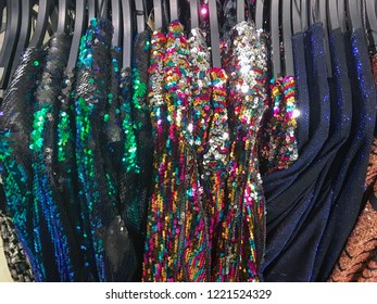 sequins sundress colorful clothes, on hanging