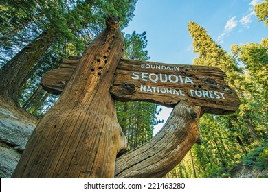 Sequoia National Forest Wooden Sign on the Sequoia National Park Road. California, United States.