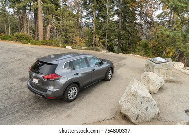 Sequoia National Park, California - November 2, 2017: View of a grey 2017 Nissan Rogue in the desert.