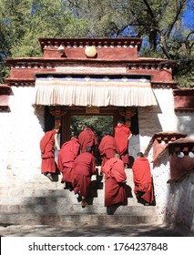 Sera manastery lhasa  tibet china, 5/11/2013  group of tibetan monks are walking into debating courtyard for arguing and debating.monk wear red clothes.