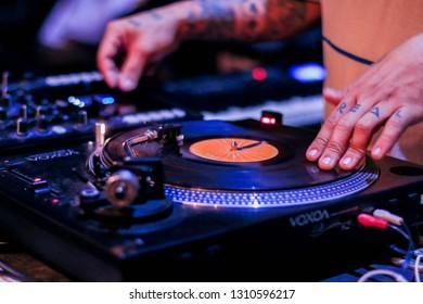 Serang, Indonesia - 08th 04 2017: DJ's Turntable Setting on the Table