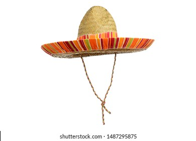 Serape straw sombrero isolated on a white background.