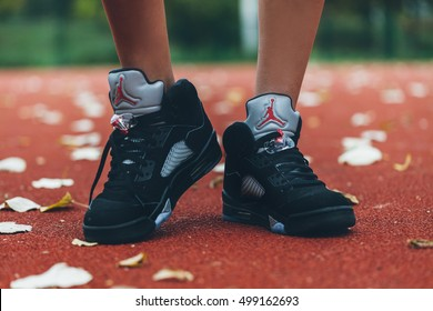 SERBIA - 16 October, 2016 : Basketball Court Nike Air Jordan 5. Nike basketball fashion shoes