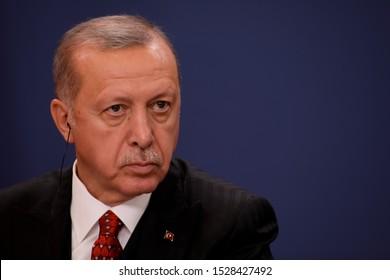 SERBIA - 7 October 2019: Turkish President Recep Tayyip Erdogan talk during press conference in Belgrade