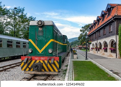 Serbia - 8/16/2015: Train at the station of the old railway-Shargan eight.
