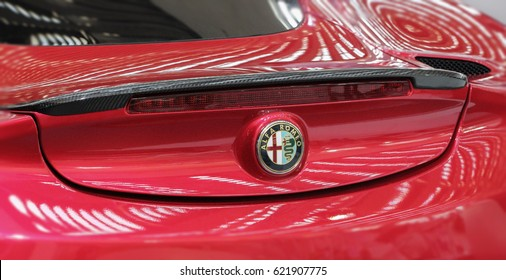 Serbia; Belgrade; April 2, 2017; Close up of Alfa Romeo 4C back; the 53rd International Motor Show in Belgrade from March 24th to April 2nd, 2017.