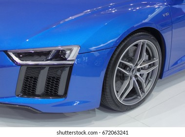 Serbia; Belgrade; April 2, 2017; The close up of azure blue side of Audi R8 Coupe V10 Plus; the 53rd International Motor Show in Belgrade from March 24th to April 2nd, 2017.