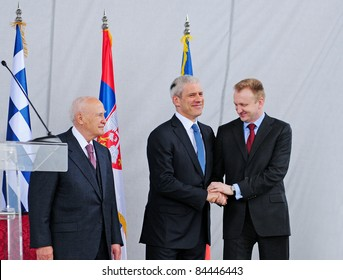 SERBIA, BELGRADE - APRIL 29, 2011: Serbian and Greek Presidents and Mayor of Belgrade (B.Tadic,K.Papoulias and Dragan Djilas from right to left) at the opening of Nebojsa tower.