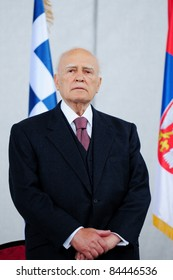 SERBIA, BELGRADE - APRIL 29, 2011: President the Third Hellenic Republic Karlos Papoulias on the opening of Nebojsa tower.