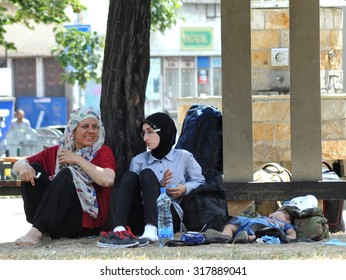 SERBIA, BELGRADE - August 2015: Park at the station migrants from Syria have turned into a small city. Most sleep under the open sky.