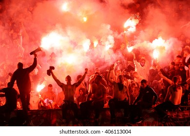 SERBIA, BELGRADE - FEBRUARY 27, 2016: Football fans during eternal rivals have met in the Eternal soccer derby, FC Partizan and Red Star from Belgrade, was played on 27 February in Belgrade.