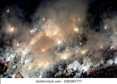 SERBIA, BELGRADE - FEBRUARY 27, 2017: Football fans during eternal rivals have met in the Eternal soccer derby, FC Partizan and Red Star from Belgrade, was played on 27 February in Belgrade.