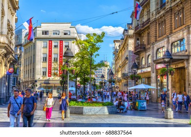 SERBIA, BELGRADE - JULY 26: Building of the Spanish Cultural Center on July 26, 2017 in Belgrade. Old buildings, shops and people in Knez Mihajlova Street,HDR Image.
