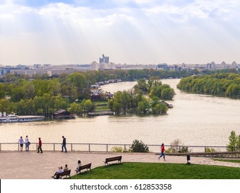 Serbia, Belgrade, March 2017. Picture is showing  mouth of river Sava and Danube and city of Belgrade.