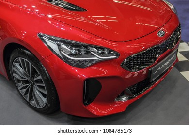 Serbia; Belgrade; March 24, 2018; KIA Stinger front; the 54th International Motor Show in Belgrade from 22th to 28th March, 2018.